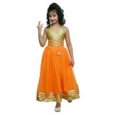 Deals, Discounts & Offers on Women Clothing - Ishika Garments Orange Gown For Girls