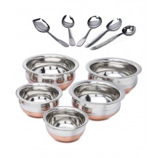 Deals, Discounts & Offers on Home Appliances - Kitchen Krafts Combo Of Stainless Steel 5 Handis & 5 Serving Spoons