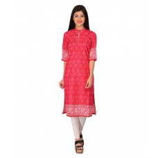 Deals, Discounts & Offers on Women Clothing - Nakoda Creation Red Cotton Printed Unstitched Kurti