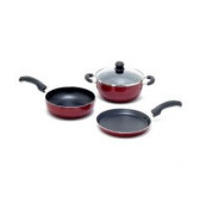 Deals, Discounts & Offers on Home Appliances - United Non-stick 3mm heavy gauge Cookware Set - 3 Pcs +1 glass Lid