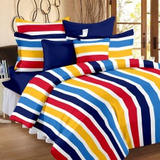 Deals, Discounts & Offers on Home Decor & Festive Needs - Ahmedabad Cotton Superior Striped Cotton Double Bedsheet With 2 Pillow Covers