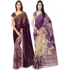 Deals, Discounts & Offers on Women Clothing - KASHVI SAREES Printed Daily Wear Georgette Sari - Pack of 2