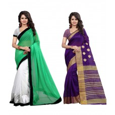 Deals, Discounts & Offers on Women Clothing - The Lugai Fashion Multicoloured Banarasi Silk Saree Combos