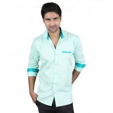 Deals, Discounts & Offers on Men Clothing - Flat 47% off on Kiez Green Casuals Slim Fit Shirt