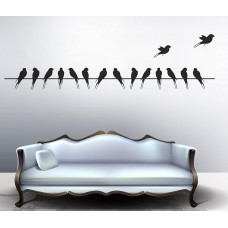Deals, Discounts & Offers on Home Decor & Festive Needs - Decals Design 'Beautiful Long Tail Birds on Wire' Wall Sticker at 70% offer