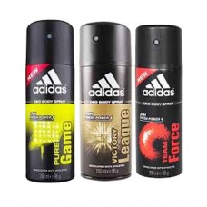 Deals, Discounts & Offers on Health & Personal Care - Adidas Combo of Pure Game, Team Force and Victory League Deodrants at 25% offer