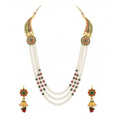 Deals, Discounts & Offers on Women - Voylla Endearing Necklace Set Embellished With Pearls And Colored Stones at 64% offer