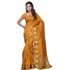 Deals, Discounts & Offers on Women Clothing - Flat 53% Offer on Mimosa Solid Kanjivaram Handloom Tussar Silk Sari
