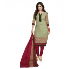 Deals, Discounts & Offers on Women Clothing - Flat 60% Offer Shree Ganesh Green Cotton Straight Unstitched Dress Material