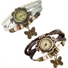 Deals, Discounts & Offers on Women - Flat 70% Offer on Y And D Combo of 2 VB-310 Vintage Butterfly Analog Watch