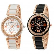 Deals, Discounts & Offers on Women - Flat 74% off on Swisstyle SS-703W-703B analog watch combo for women