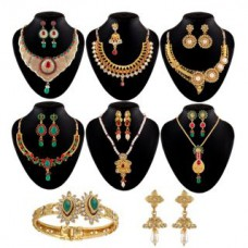 Deals, Discounts & Offers on Earings and Necklace - Flat 81% Offer on Shital Jewellery Multicolor Gold Plated Set Of 8 Jewellery