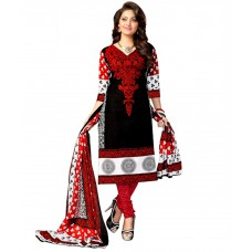Deals, Discounts & Offers on Women Clothing - Drapes Black & Red Printed Unstitched Cotton Dress material at 66% offer