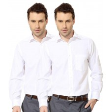 Deals, Discounts & Offers on Men Clothing - Koutons Outlaw White Formal Regular Fit Shirt-Pack of 2 at 68% offer