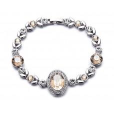 Deals, Discounts & Offers on Women - Flat 82% off on NEVI Flower Round Fashion Swarovski Elements Rhodium Plated Charm Bracelet