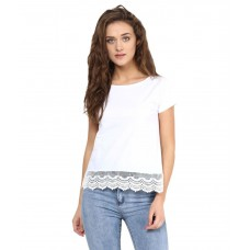 Deals, Discounts & Offers on Women Clothing - Flat 40% Offer on Miss Chase White Cotton Crop Top