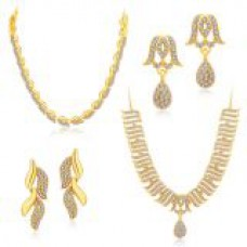 Deals, Discounts & Offers on Women - Sukkhi Ethnic Gold Plated Set Of 2 AD Necklace Set Combo For Women