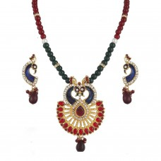 Deals, Discounts & Offers on Women - Variation Traditional Peacock Multi Semi Necklace Set By Women