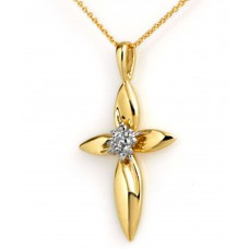 Deals, Discounts & Offers on Women - FacetzInspire Real Diamond 92.5 Sterling Silver Cross Pendant
