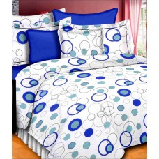 Deals, Discounts & Offers on Home Decor & Festive Needs - Vintana Blue & White Cotton Queen Bedsheet With 2 Pillow Covers
