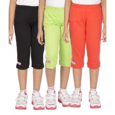 Deals, Discounts & Offers on Baby & Kids - Ocean Race Multicolor Cotton Elastic Capris - Pack of 3