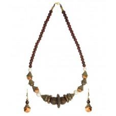 Deals, Discounts & Offers on Women - Zaveri Pearls Junk Wooden Pearls Necklace Set