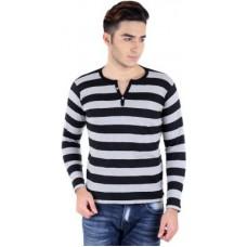 Deals, Discounts & Offers on Men Clothing - Bigidea Striped Men's Henley Black, Grey T-Shirt