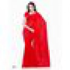 Deals, Discounts & Offers on Women Clothing - Vamika Faux Georgette Plain Saree with Unstitched Blouse