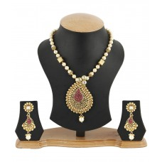 Deals, Discounts & Offers on Earings and Necklace - Jewels Galaxy Paisley Design Handcrafted Necklace Set With Royal Mala
