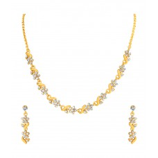 Deals, Discounts & Offers on Earings and Necklace - Flat 76% off on Mahi Gold Plated And Leafy Crystal Necklace Set