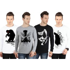 Deals, Discounts & Offers on Men Clothing - Flat 54% off on SayItLoud Printed Men's Round Neck T-Shirt - Pack of 4