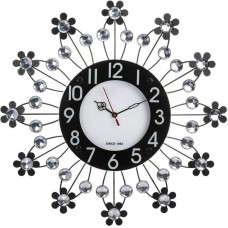 Deals, Discounts & Offers on Home Decor & Festive Needs - Flat 39% off on Wallace Victor203 Decorative Metal-Glass Diamond Studded Analog 47 cm Dia Wall Clock