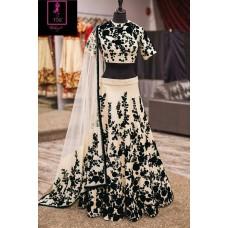 Deals, Discounts & Offers on Women Clothing - Wedding Wear Cream & Black Bhagalpuri Silk Lehenga Choli