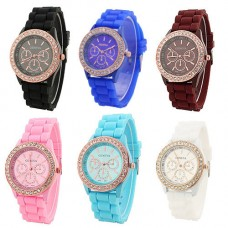 Deals, Discounts & Offers on Women - Geneva Rhinestone collection Silicone Strap Analog Womens