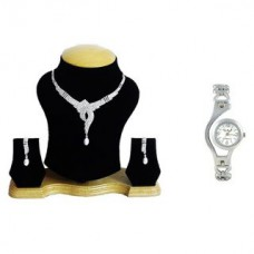 Deals, Discounts & Offers on Earings and Necklace - The Pari Silver Plated Silver Combo Of Necklace SetWatch For Women