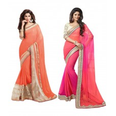Deals, Discounts & Offers on Women Clothing - Avfashion Multicolour Faux Chiffon Pack of 2