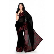 Deals, Discounts & Offers on Women Clothing - Designersareez Black Faux Georgette Saree With Unstitched Blouse