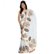 Deals, Discounts & Offers on Women Clothing - Flat 70% off on Aaina White Chiffon Solid Fashion Saree