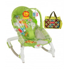 Deals, Discounts & Offers on Baby & Kids - Fisher Price Green Toddler Rocker With Diaper Bag
