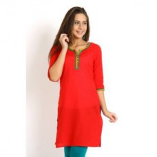 Deals, Discounts & Offers on Women Clothing - Jaipur Kurti's Pure Cotton Red Solid Kurti