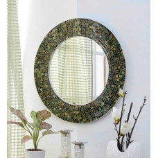 Deals, Discounts & Offers on Home Decor & Festive Needs - Importwala Multicolour Glass & Wood Round Mosaic Mirror
