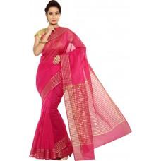 Deals, Discounts & Offers on Women Clothing - Pavechas Solid Banarasi Silk Cotton Blend Sari