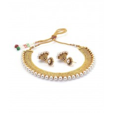 Deals, Discounts & Offers on Earings and Necklace - Youbella Golden Alloy Traditional Gold Plated Necklace Set