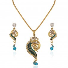 Deals, Discounts & Offers on Earings and Necklace - Variation Rana Blue Peacock pattern Chain Pendant Set For Women
