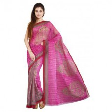 Deals, Discounts & Offers on Women Clothing - Parchayee Pink Printed Poly Cotton Saree With Blouse