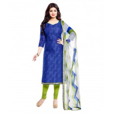 Deals, Discounts & Offers on Women Clothing - Saree Mall Blue Chanderi Straight Unstitched Dress Material