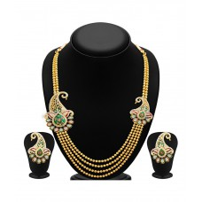 Deals, Discounts & Offers on Earings and Necklace - Sukkhi Gold Plated Four Strings Pearl Necklace Set