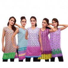 Deals, Discounts & Offers on Women Clothing - Uzee Ladies Rayon Kurtis Combo of 5