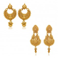 Deals, Discounts & Offers on Earings and Necklace - Donna Combo Of Festive Delight Gold Plated Earrings For Women