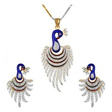 Deals, Discounts & Offers on Earings and Necklace - YouBella CZ Designer Peacock Pendant Set / Necklace Set with Chain and Earrings